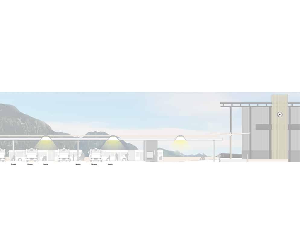 Realisierungswettbewerb Bahnhofsumfeld Markt Oberstdorf, Schnittzeichnung